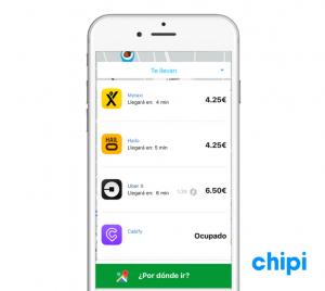 Chipi: la primera app que compara en tiempo real Cabify, Uber, Mytaxi, Car2go y Emov