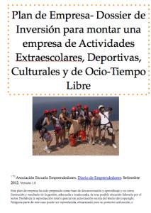Dossier de inversión para montar una empresa de actividades extraescolares, deportivas, culturales y de ocio-tiempo libre