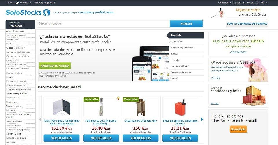 SoloStocks, el portal de compraventa para empresas y profesionales