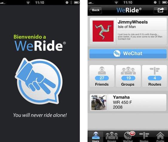 WeRide, la primera app para moteros