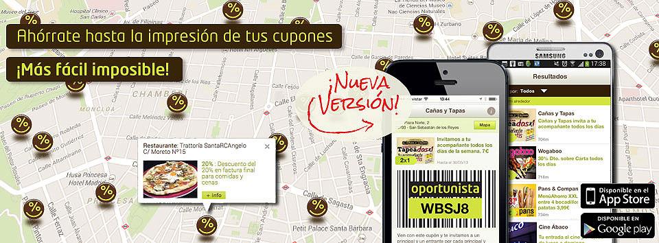 La primera web española de cupones descuento Oportunista.com renueva su app