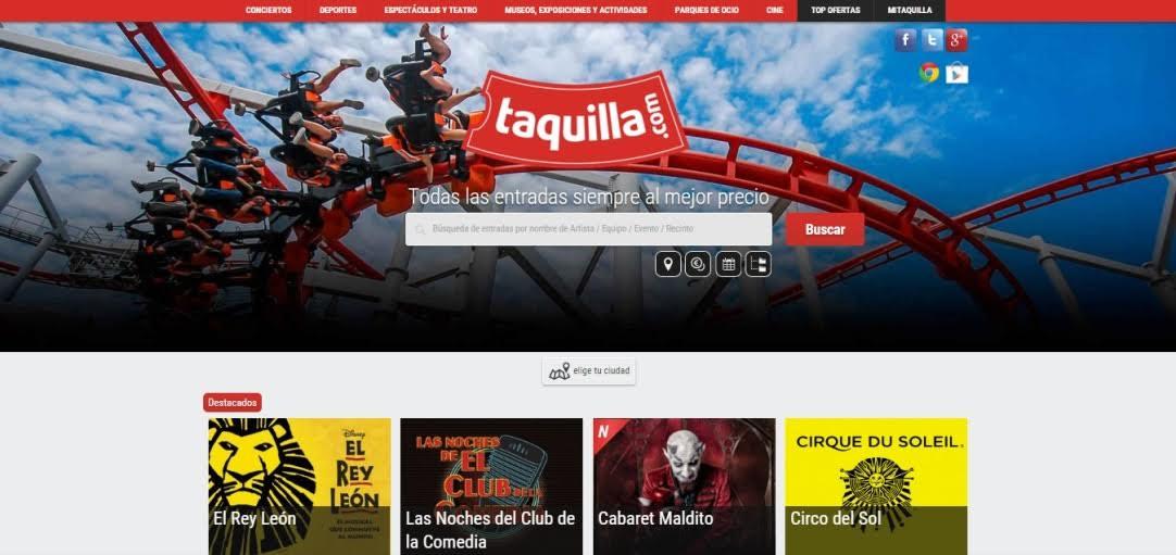 El comparador de precios de entradas Taquilla.com crece un 350 % en 2015