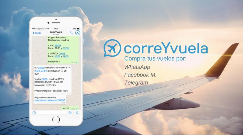correYvuela, un chatbot de venta de vuelos mediante WhatsApp que recauda 750.000 €