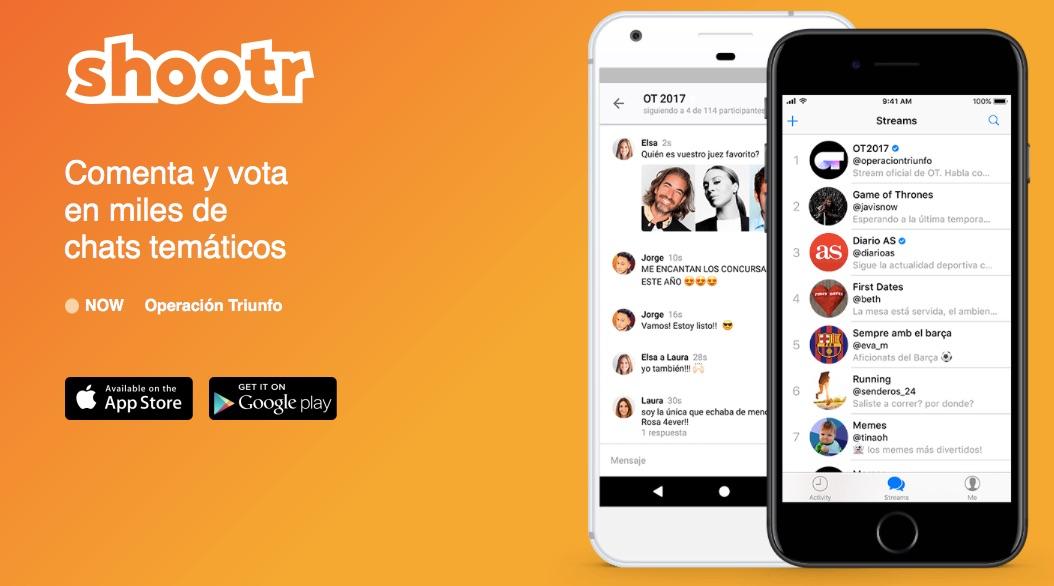 La app Shootr ofrece un chat en tiempo real para los fans de Operación Triunfo